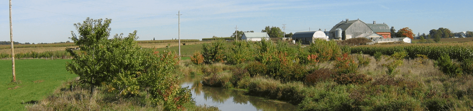 barn and stream